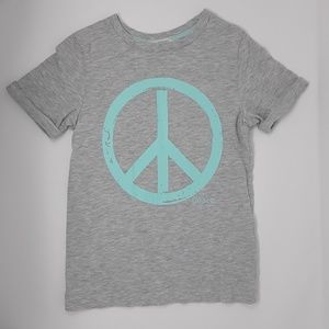 H&M Peace Sign Gray T-Shirt Kid's Sizes 4-6
